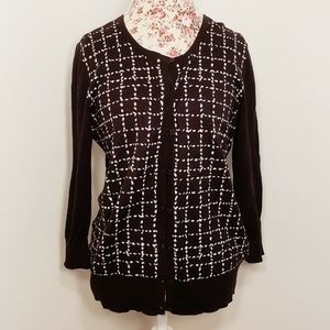 Ann Taylor Black and White Button Down Cardigan